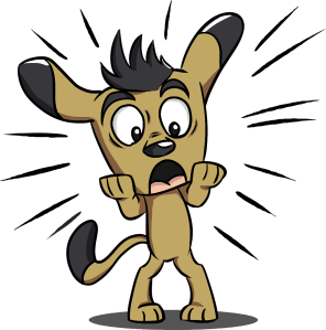 brown cartoon dog, standing on hind legs, with a surprised expression