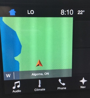 Navigation system screen showing no roads