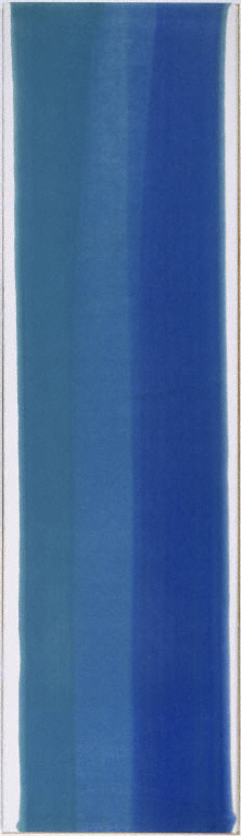 a painting consisting of a vertical stripe of blue