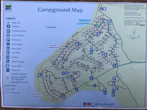 a map showing campsites on three campgrounds, as well as walking trails